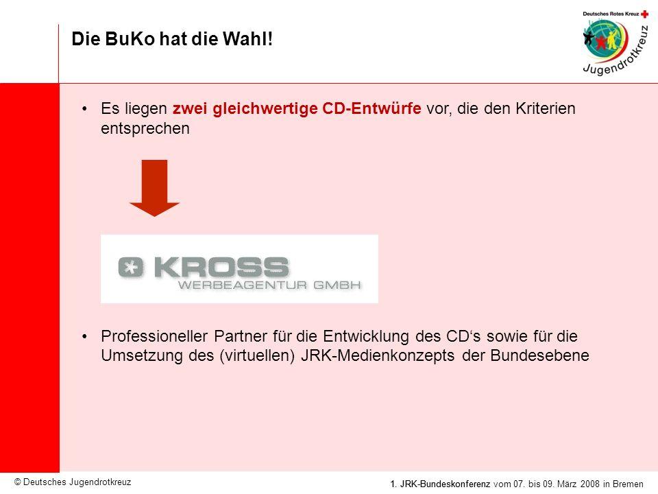 Die BuKo hat die Wahl! Es liegen zwei gleichwertige CD-Entwürfe vor, die den Kriterien entsprechen.