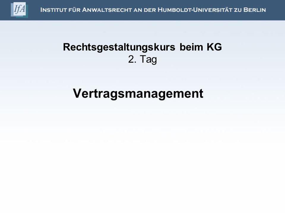 Rechtsgestaltungskurs beim KG 2. Tag
