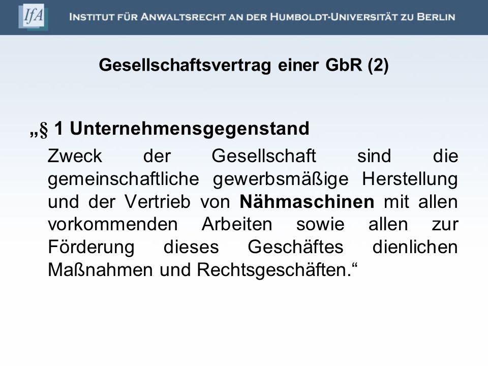 Gesellschaftsvertrag einer GbR (2)