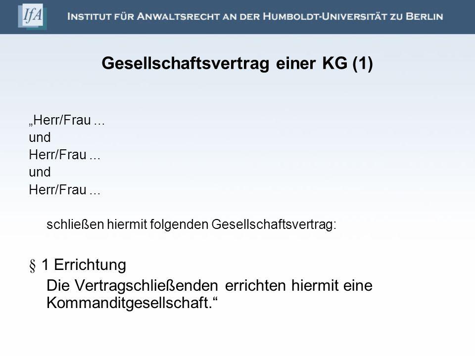 Gesellschaftsvertrag einer KG (1)