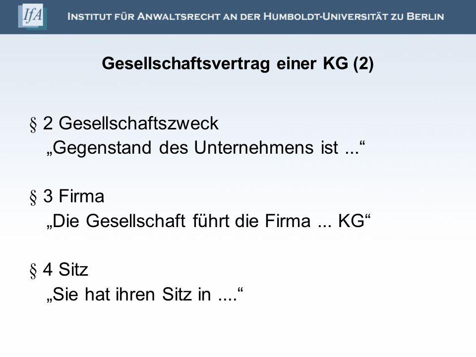 Gesellschaftsvertrag einer KG (2)