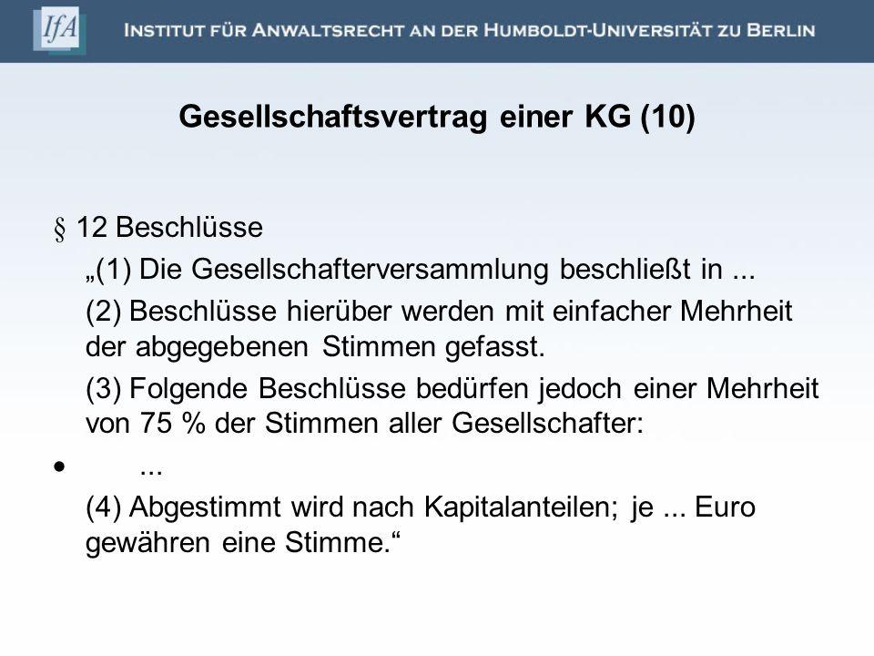 Gesellschaftsvertrag einer KG (10)