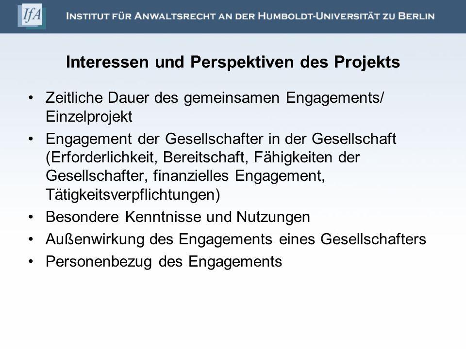 Interessen und Perspektiven des Projekts