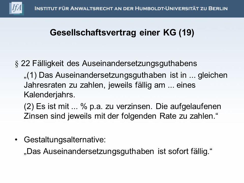 Gesellschaftsvertrag einer KG (19)