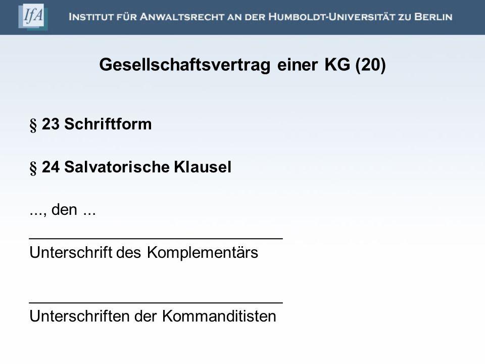 Gesellschaftsvertrag einer KG (20)