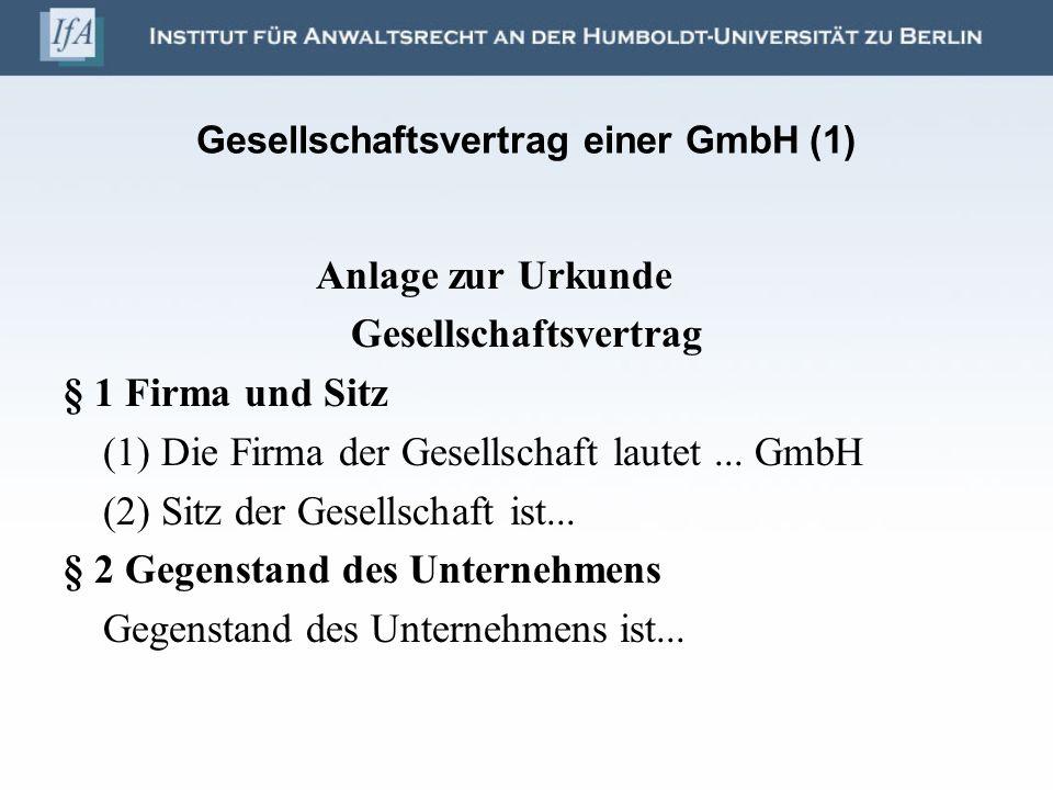 Gesellschaftsvertrag einer GmbH (1)