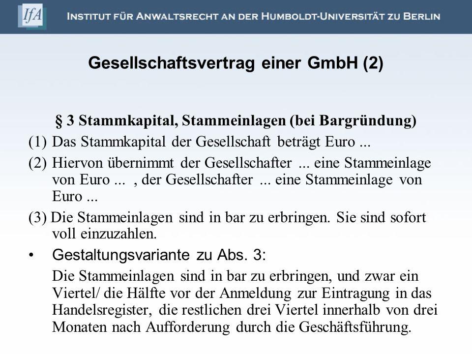 Gesellschaftsvertrag einer GmbH (2)