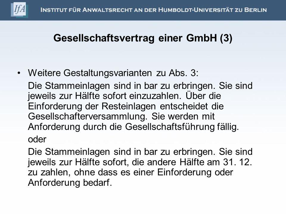 Gesellschaftsvertrag einer GmbH (3)