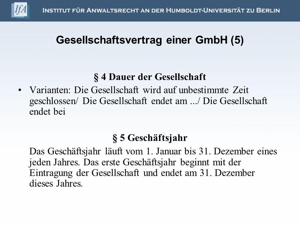 Gesellschaftsvertrag einer GmbH (5)