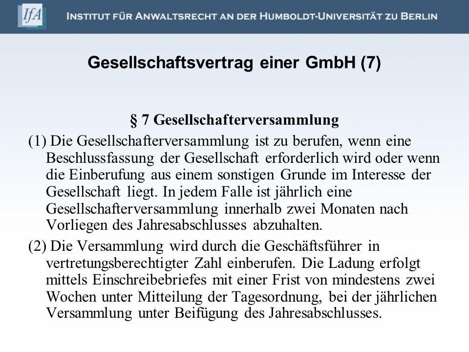 Gesellschaftsvertrag einer GmbH (7)