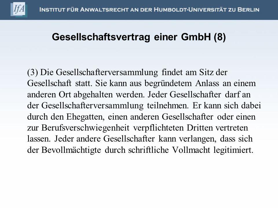 Gesellschaftsvertrag einer GmbH (8)