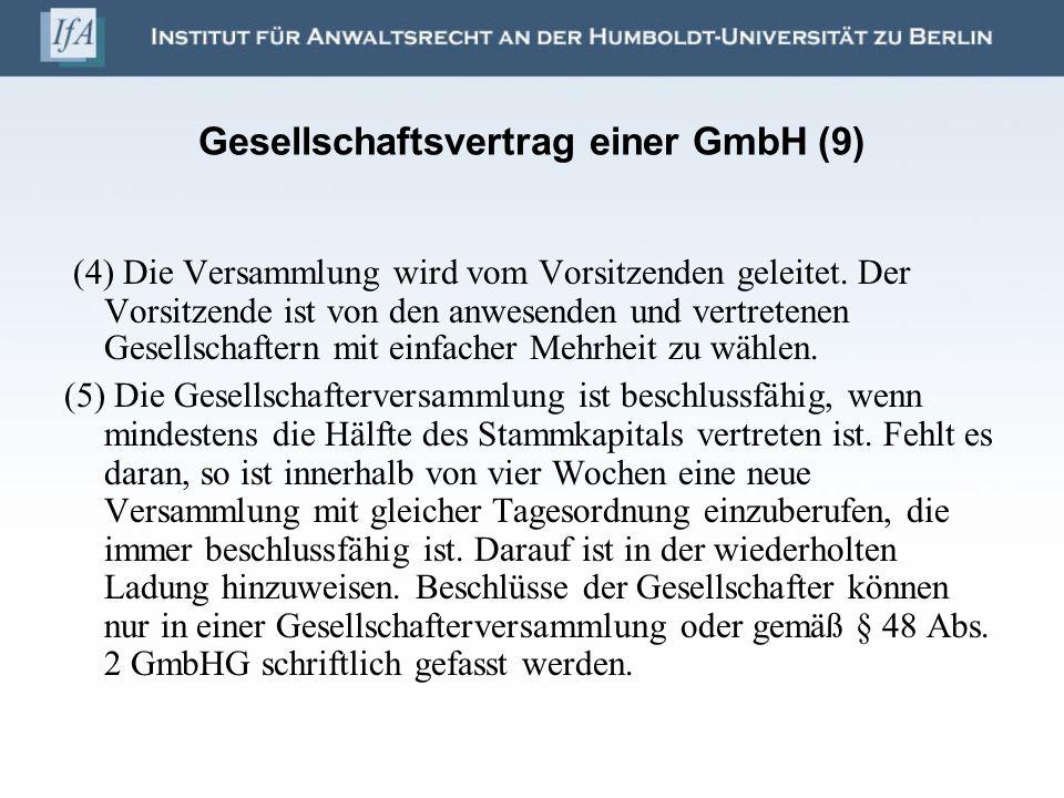 Gesellschaftsvertrag einer GmbH (9)