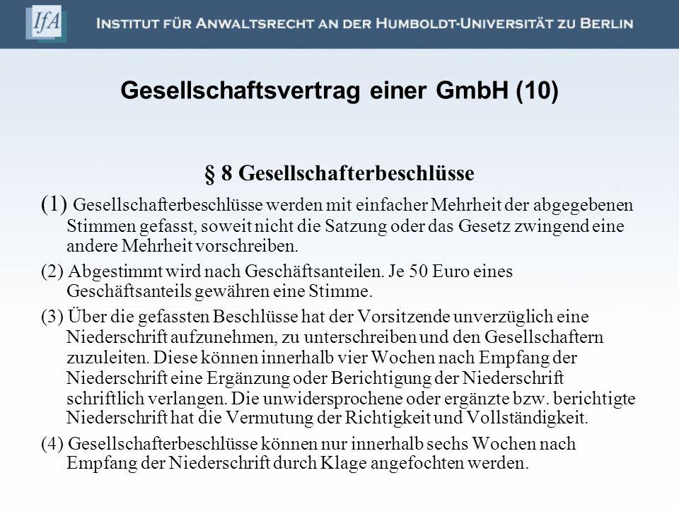 Gesellschaftsvertrag einer GmbH (10)