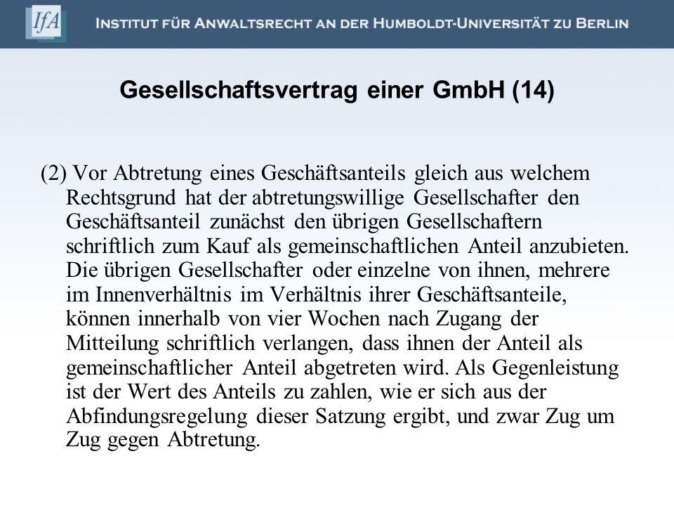 Gesellschaftsvertrag einer GmbH (14)
