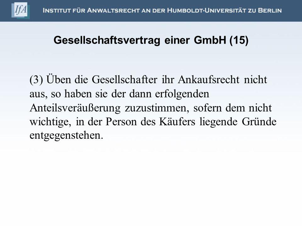 Gesellschaftsvertrag einer GmbH (15)