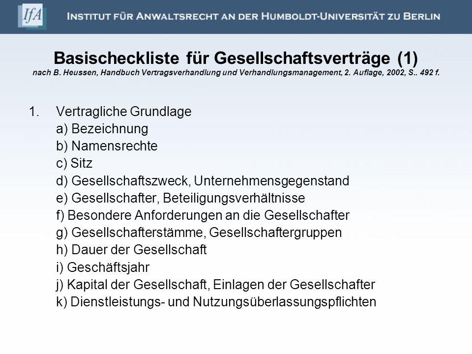 Basischeckliste für Gesellschaftsverträge (1) nach B