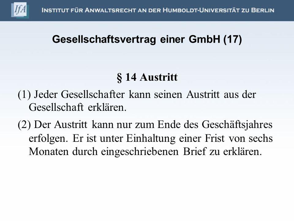 Gesellschaftsvertrag einer GmbH (17)