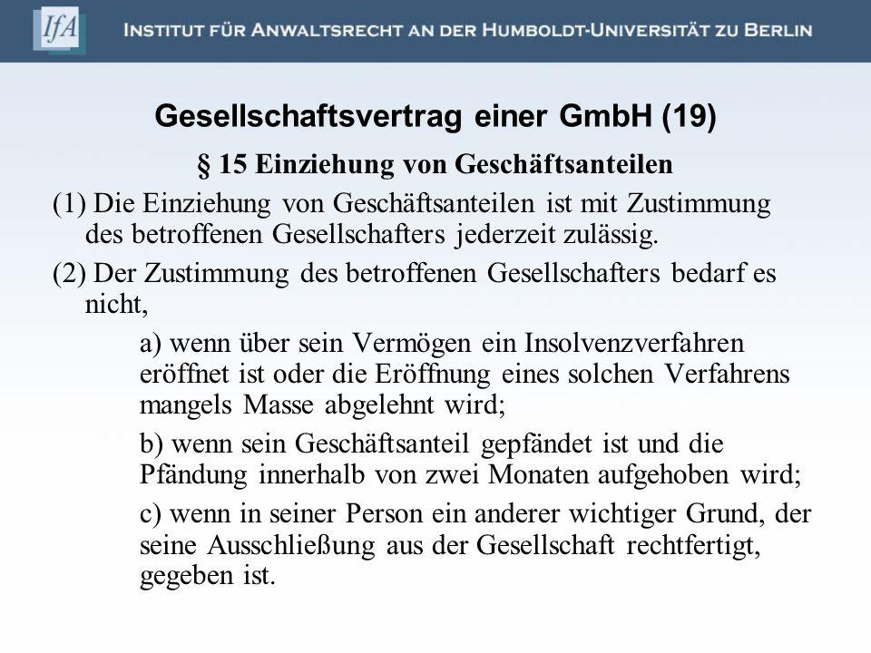 Gesellschaftsvertrag einer GmbH (19)