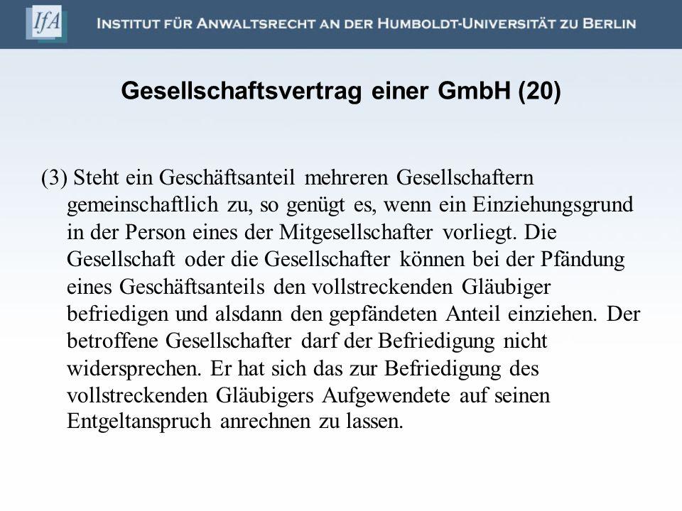 Gesellschaftsvertrag einer GmbH (20)