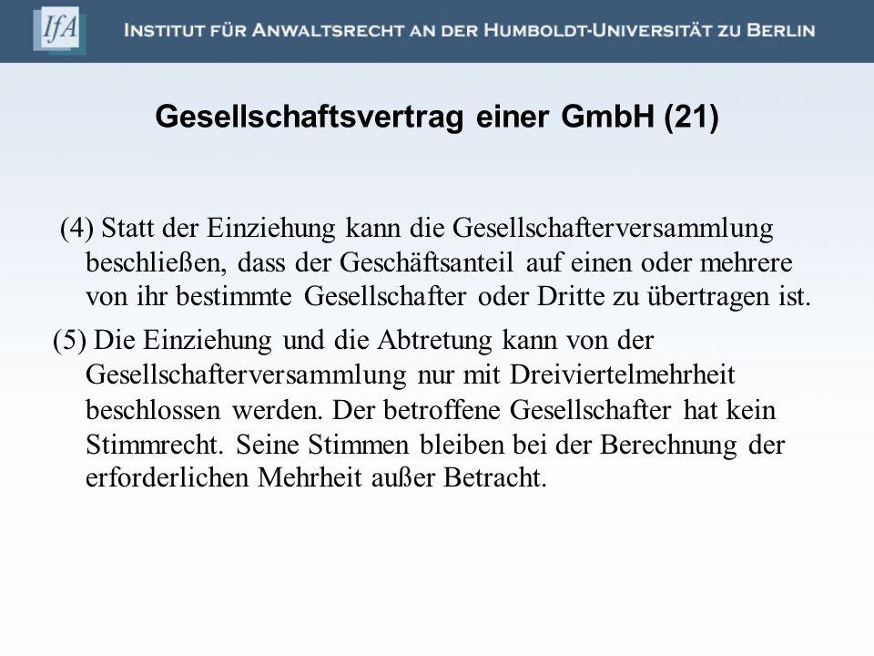 Gesellschaftsvertrag einer GmbH (21)