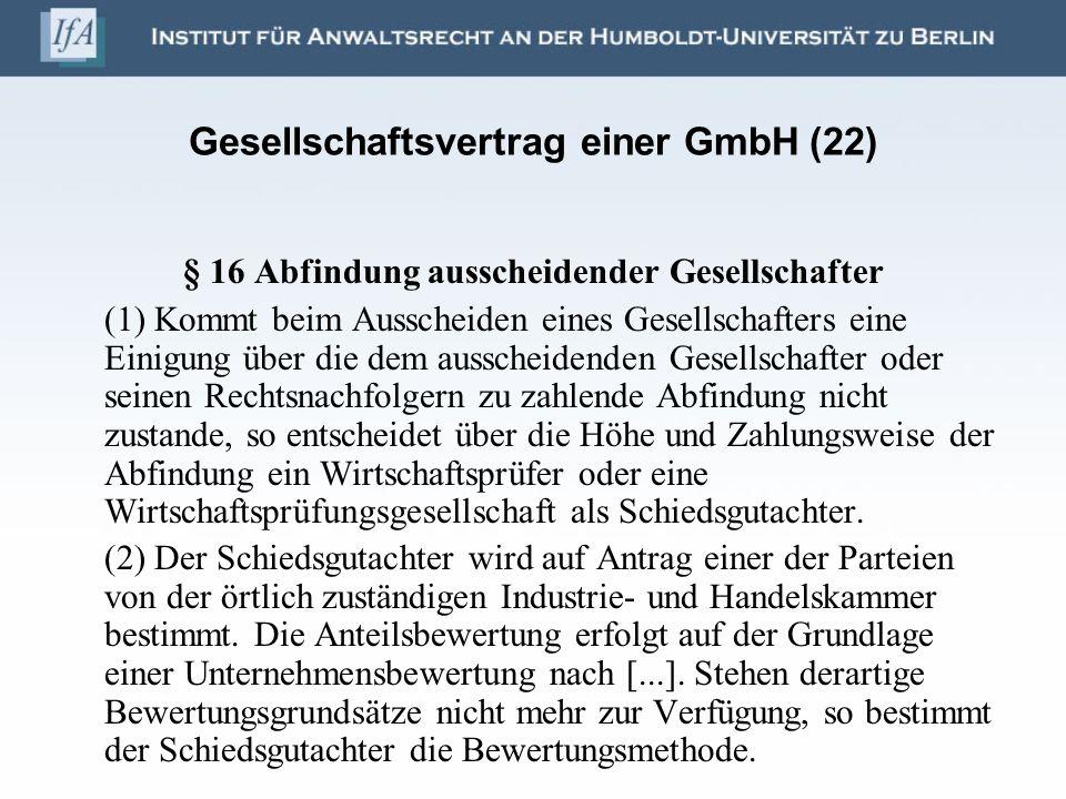 Gesellschaftsvertrag einer GmbH (22)