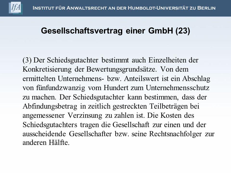 Gesellschaftsvertrag einer GmbH (23)