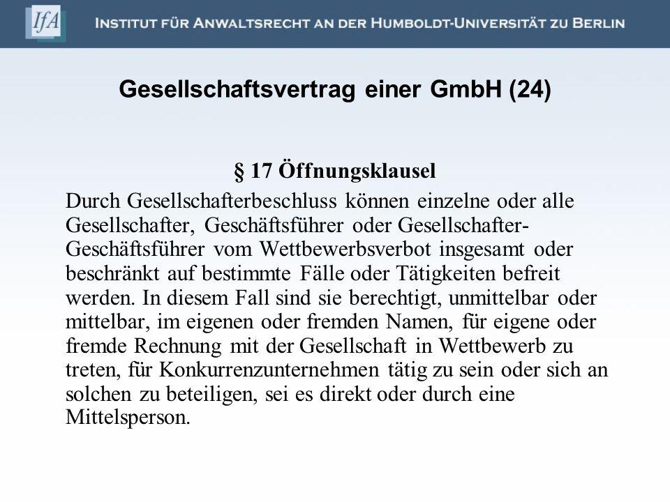 Gesellschaftsvertrag einer GmbH (24)