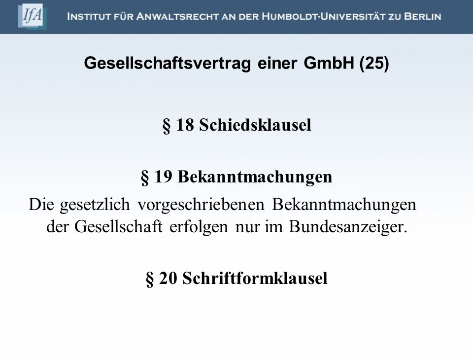 Gesellschaftsvertrag einer GmbH (25)