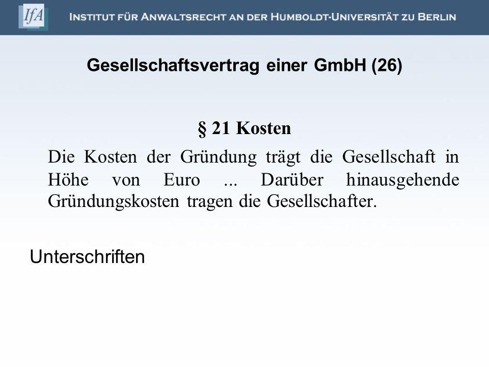 Gesellschaftsvertrag einer GmbH (26)
