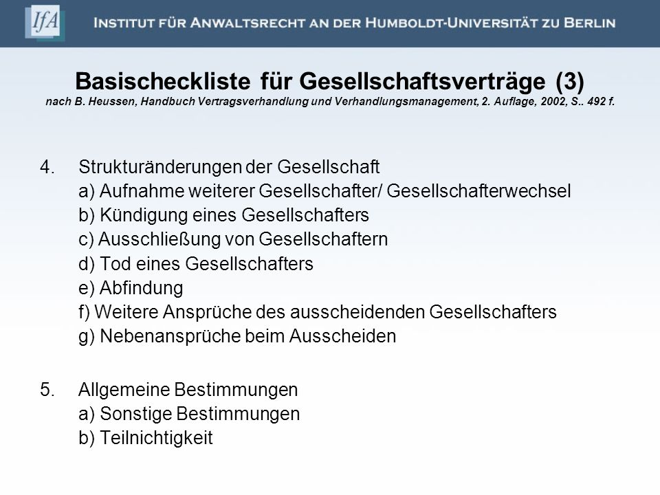 Basischeckliste für Gesellschaftsverträge (3) nach B