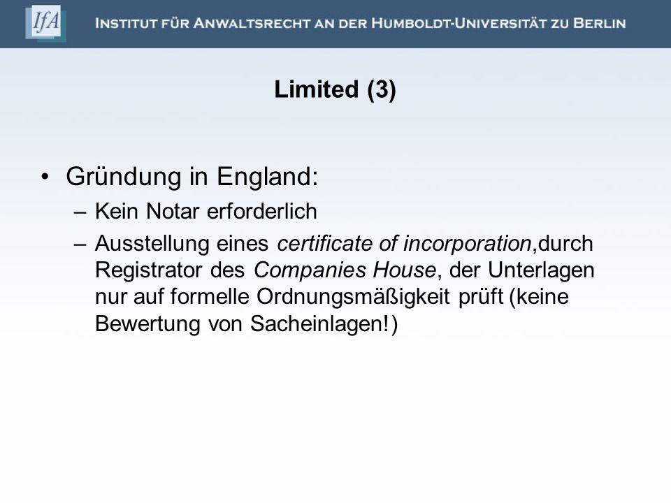 Gründung in England: Limited (3) Kein Notar erforderlich