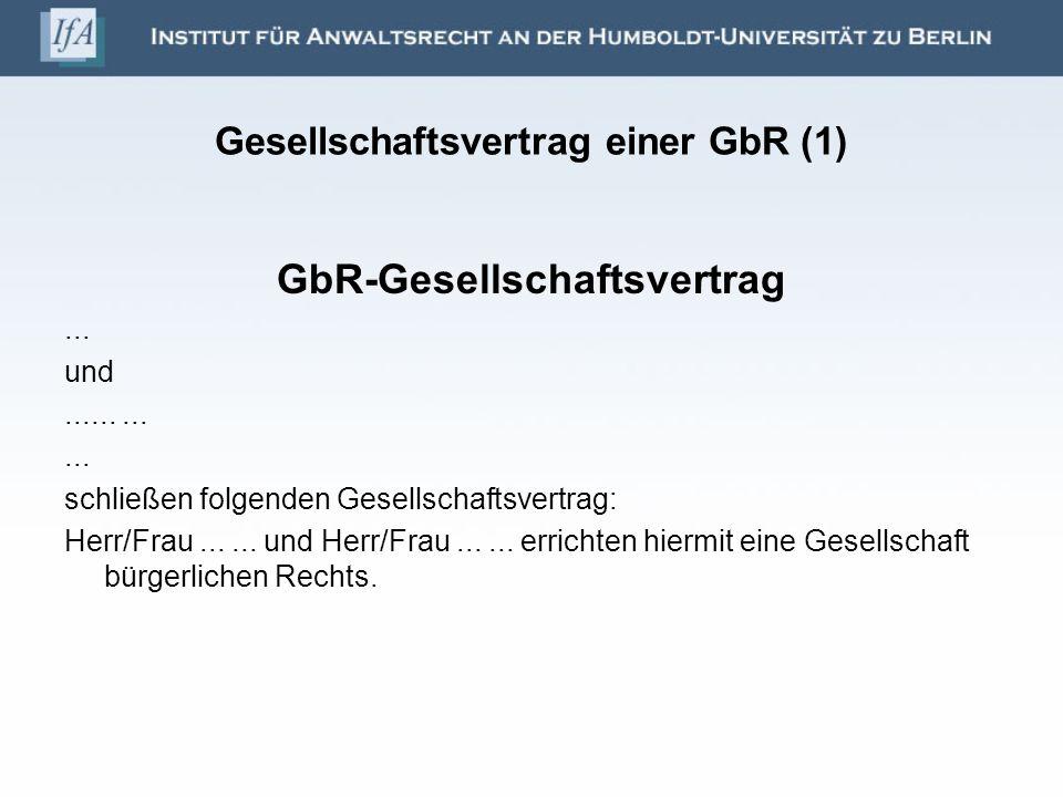 Gesellschaftsvertrag einer GbR (1)