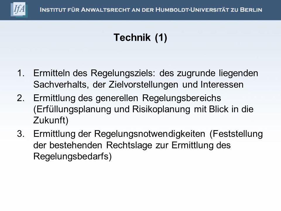 Technik (1) Ermitteln des Regelungsziels: des zugrunde liegenden Sachverhalts, der Zielvorstellungen und Interessen.