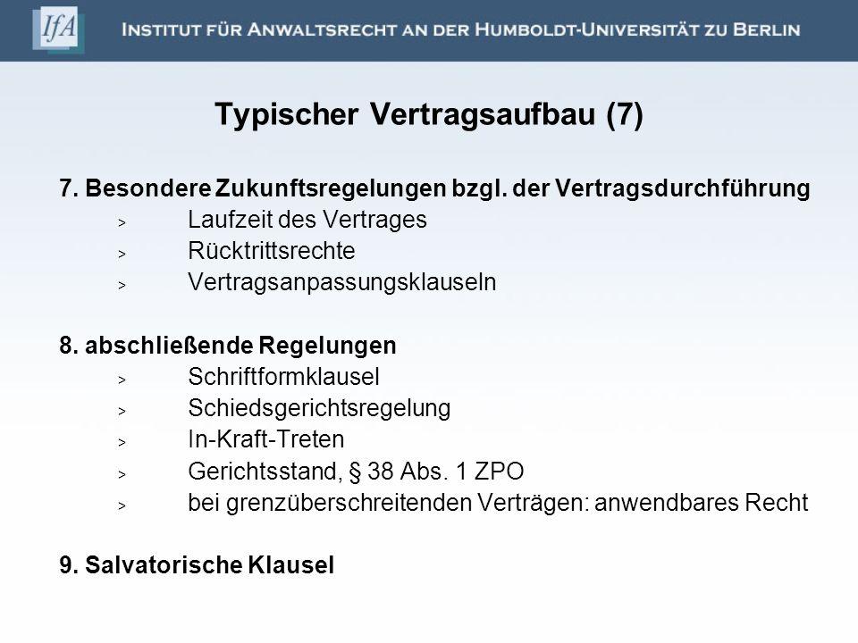 Typischer Vertragsaufbau (7)