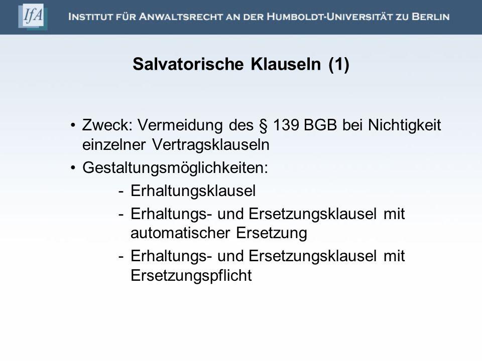 Salvatorische Klauseln (1)