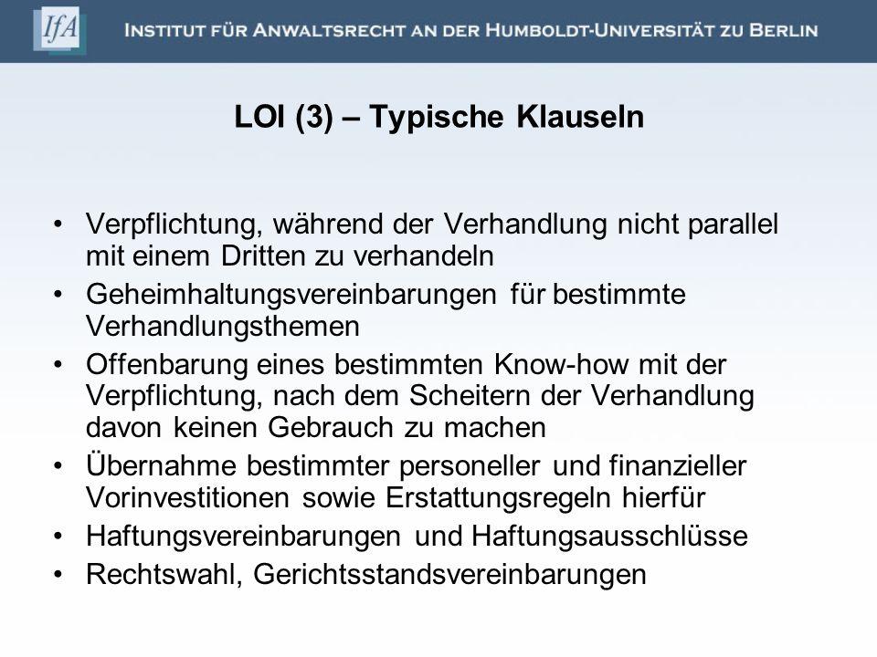 LOI (3) – Typische Klauseln