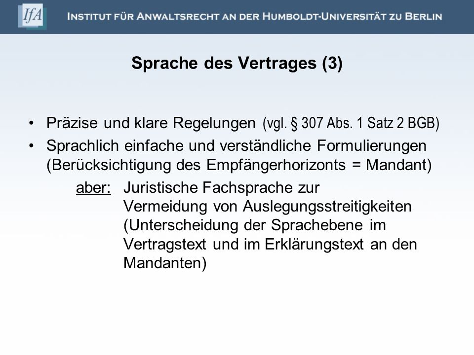 Sprache des Vertrages (3)
