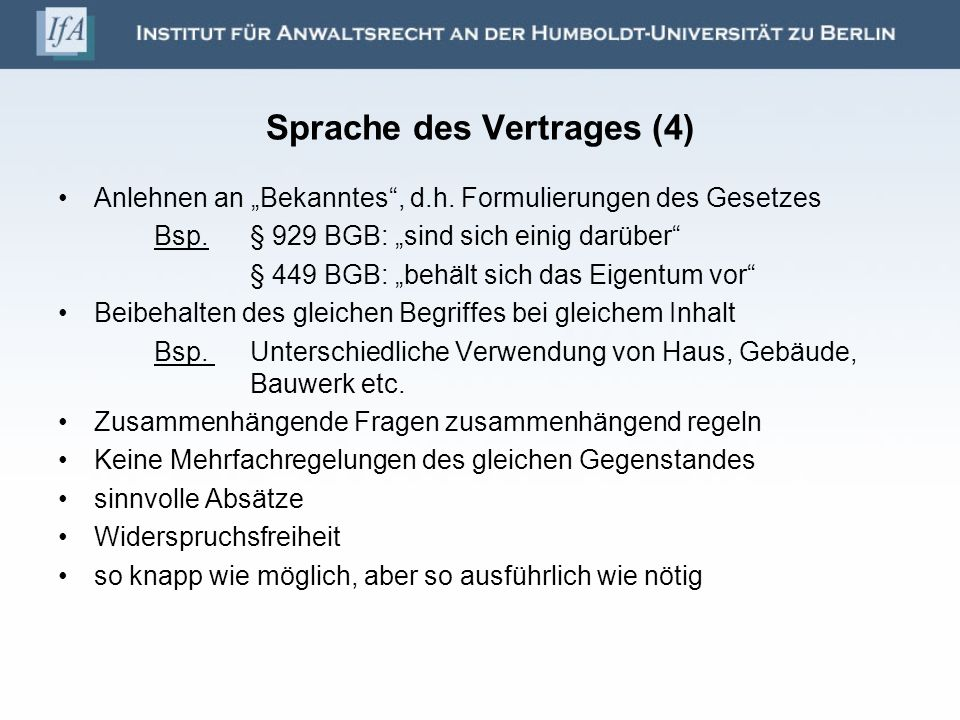 Sprache des Vertrages (4)