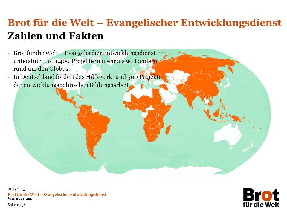 Brot für die Welt – Evangelischer Entwicklungsdienst Zahlen und Fakten