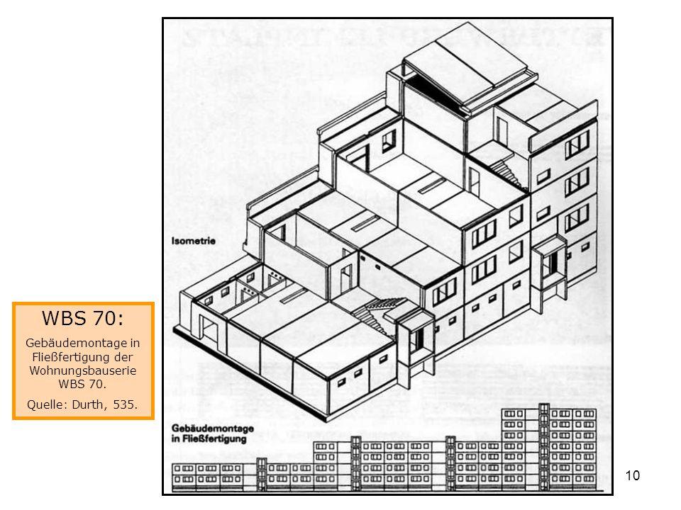 Gebäudemontage in Fließfertigung der Wohnungsbauserie WBS 70.