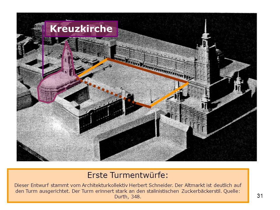 Kreuzkirche Erste Turmentwürfe: