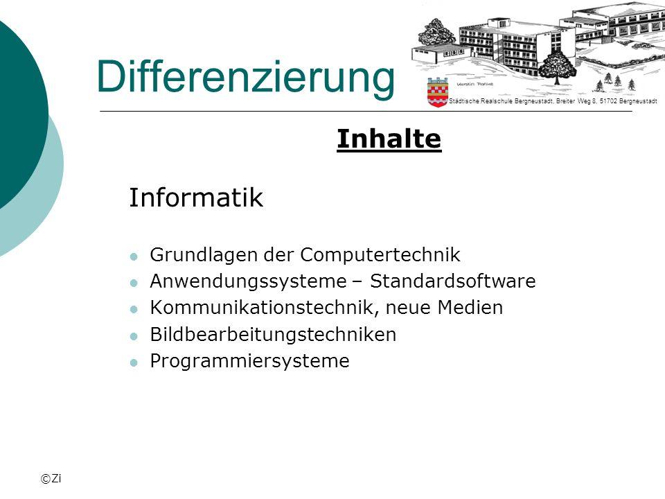 Differenzierung Inhalte Informatik Grundlagen der Computertechnik