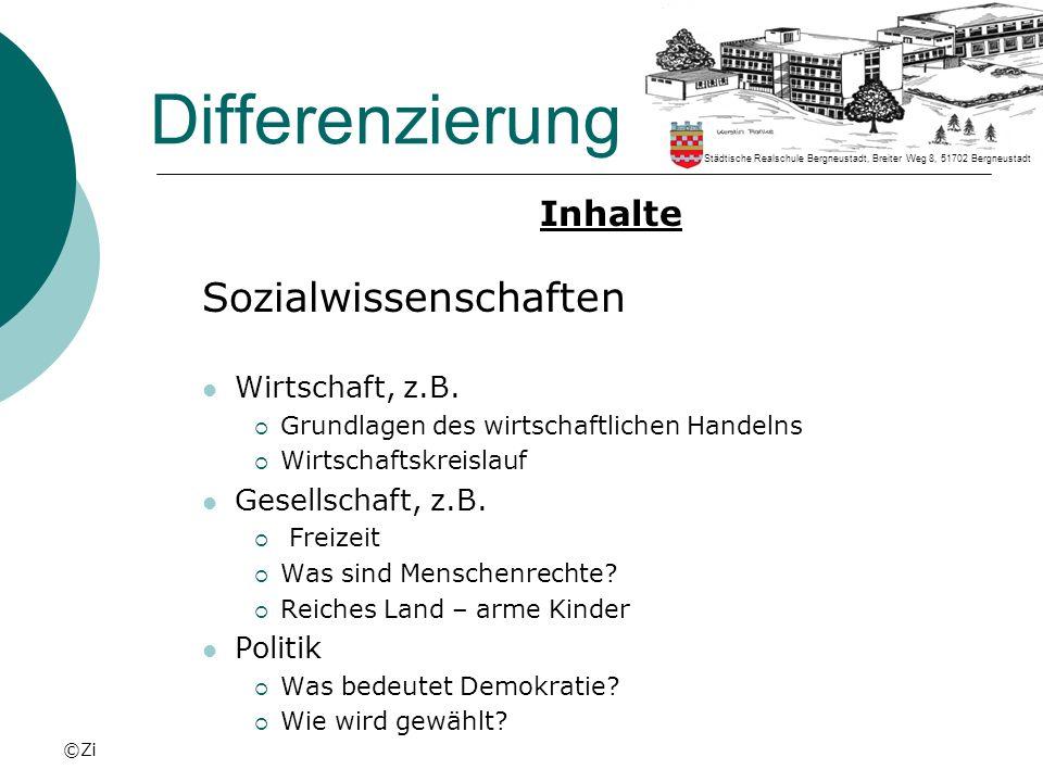 Differenzierung Sozialwissenschaften Inhalte Wirtschaft, z.B.