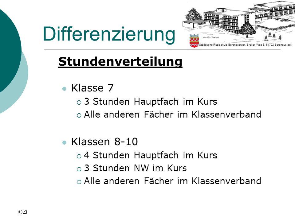 Differenzierung Stundenverteilung Klasse 7 Klassen 8-10