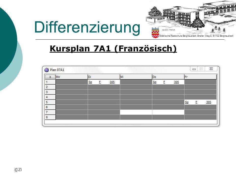 Differenzierung Kursplan 7A1 (Französisch) ©Zi