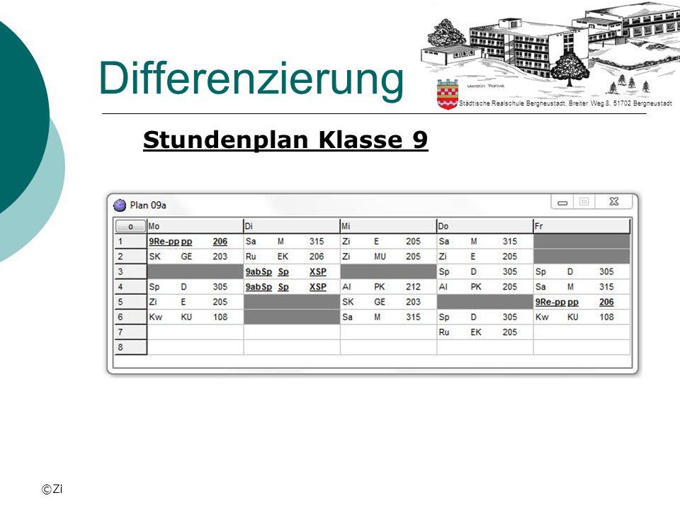 Differenzierung Stundenplan Klasse 9 ©Zi