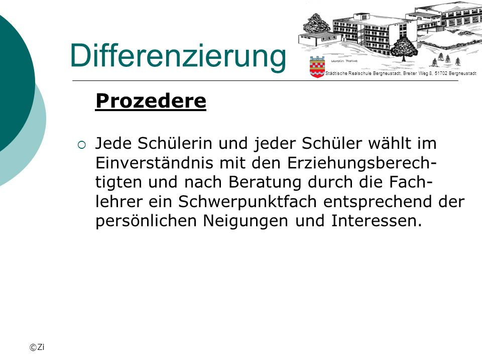 Differenzierung Prozedere