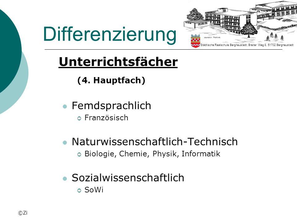 Differenzierung Unterrichtsfächer (4. Hauptfach) Femdsprachlich