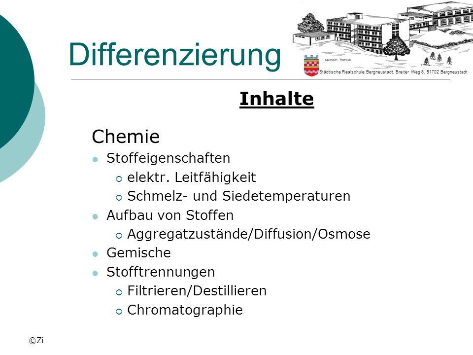 Differenzierung Inhalte Chemie Stoffeigenschaften
