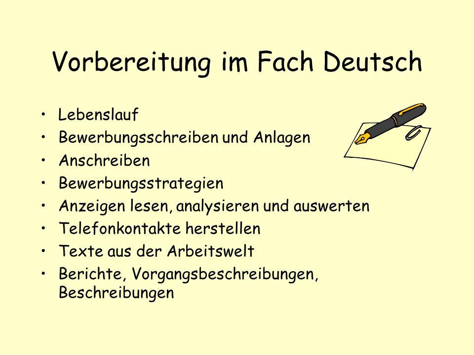Vorbereitung im Fach Deutsch